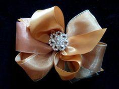 BRONZE COPPER Metallic Boutique BIG Hair Bow Holidays Elegant bling Cici's