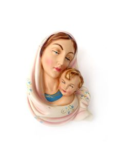 Numbered Italian Madonna and Infant Jesus Figural Wall Hanging Plaque, Handpainted -- at ThirdFloorRetro, $18.00