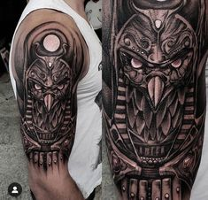 Egyptian Tattoo Sleeve, Skull Sleeve Tattoos, Egypt Tattoo, Quarter Sleeve Tattoos, Leg Tattoos, Tattos, Pharaoh Tattoo, Horus Tattoo, Anubis Tattoo
