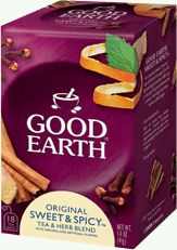 THE BEST TEA EVER! Good Earth® Original™ Sweet & Spicy™ Tea & Herb Blend by Good Earth - An aromatic sweet cinnamon tea with hints of orange. Our full flavored signature blend offers up a rich, spicy fragrance followed by a sweet, warming, clean taste without added sugar.