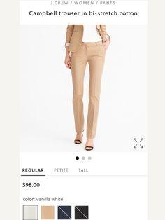 Foxy Brown, J Crew, Pants For Women, Khaki Pants, Trousers, Cotton, Fashion, Trouser Pants, Moda