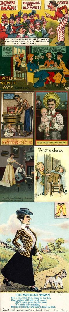 Past Politics: Anti-Women's Suffrage Postcards. We have come a long way, and still have a ways to go!
