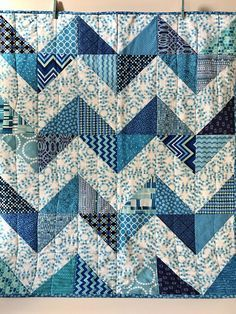 Modern Baby Quilt Olivia Contemporary Blue