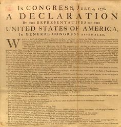 ❖ July 4, 1776 ❖ In Philadelphia, Pennsylvania, the Continental Congress adopts the Declaration of Independence, which proclaims the independence of the United States of America from Great Britain and its king. The declaration came 442 days after the first volleys of the American Revolution were fired at Lexington and Concord in Massachusetts and marked an ideological expansion of the conflict that would eventually encourage France's intervention on behalf of the Patriots.