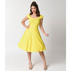 Vintage Style Yellow Stretch Cap Sleeve Swing Dress ($68) ❤ liked on Polyvore featuring dresses, yellow, vintage a line dresses, plunging v neck dress, vintage dresses, v neck cocktail dress and vintage swing dress