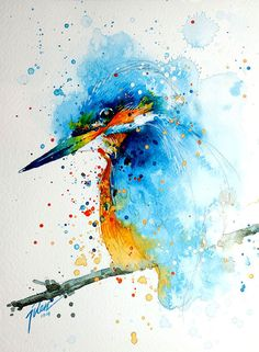 飛散する色彩と水滴!カラフルで可愛い小動物の水彩画 (4)