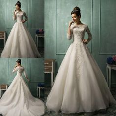 Wholesale Wedding Dresses - Buy Amelia Sposa Long Sleeve Wedding Dresses For 2015 Spring White Ivory Organza Scalloped Lace Sheer Crew Neck Cheap A-Line Bridal Ball Gowns, $157.57 | DHgate.com