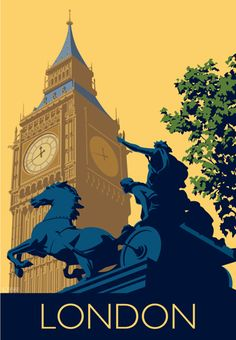 Art print Travel/Railway Poster of Big Ben in the city of Westminster, London. in Retro, Art Deco style design British Travel, New Travel, London Travel, Posters Uk, Railway Posters, Poster Prints, Art Print, London Poster, London Art