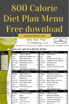 When you're looking for an effective diet plan for quick weight loss, you can … 800 Calorie Diet Plan, 800 Calorie Meal Plan, Diet Plan Menu, Diet Meal Plans, Food Plan, Free Diet Plans, Meal Prep, The Plan, How To Plan
