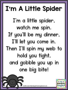 I'm A Little Spider poem! Practice rhyming words and fluency with this spider… Kindergarten Poems, Kindergarten Smorgasboard, Preschool Music, Preschool Learning, Preschool Fingerplays, Kids Poems, Songs For Children, Funny Songs For Kids, Rhymes For Kids