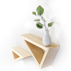 Set of Two: Triangular Floating Maple Shelves