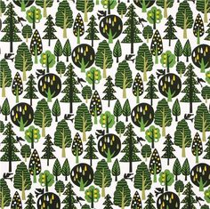 white oxford tree forest fabric by Cosmo from Japan