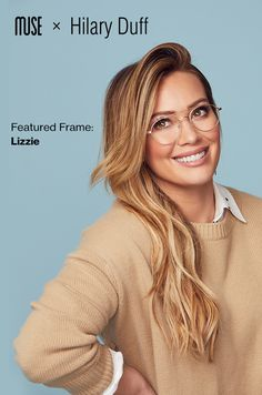 Hilary Duff just launched her new glasses collection. Find your perfect pair exclusively online, plus, get free ship… Hilary Duff, Brown Blonde Hair, Brunette Hair, The Duff, New Glasses, Girl Glasses, Corte Y Color, Fashion Eye Glasses, Fall Hair