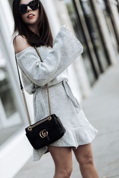 5 Sweater dresses you need this fall, click to shop the look   Grey sweater dress, M. Gemi Corsa bootie, Gucci Marmont bag in black  Tiffany Jais fashion and lifestyle blogger of Flaunt and Center   Houston fashion blogger   Streetstyle blog