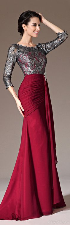 eDressit Lace Top & Sleeves Sheath Formal Dress (26140302) / In Burgundy Long Skirt w. Old Silver Lace 1/2 Length Sleeves Halter Top // http://modamonster33.blogspot.com.br/