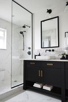 Bathroom Renos, Basement Bathroom, Bathroom Renovations, Master Bathrooms, Bathroom Cabinets, Remodel Bathroom, Bathroom Makeovers, Bathroom With Black Cabinets, Bathroom Furniture