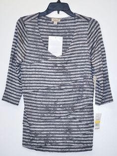 ONE WORLD WOMEN TOP LAYERED STRIPED 3/4 Sleeve Gray size M NWT #OneWorld #KnitTop #Casual