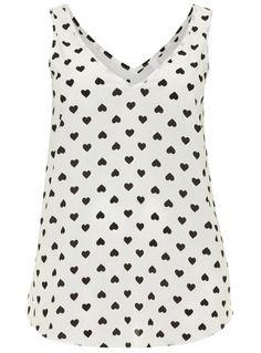 Evans ausgestelltes Hemdchen mit Herz-Print - Tops & Tuniken - Kleidung