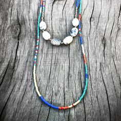 White Opal and Long Double Strand Seed Bead Necklace by KadhiBo