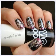 Models Own, black, pink, and gold glitter gradient nails