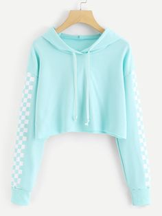 Contrast Checked Sleeve Crop HoodieFor Women-romwe Source by reikakazue Hoodie outfit Girls Fashion Clothes, Teen Fashion Outfits, Cute Fashion, Outfits For Teens, Girl Outfits, Fashion Styles, Fashion Fall, Crop Top Outfits, Cute Casual Outfits