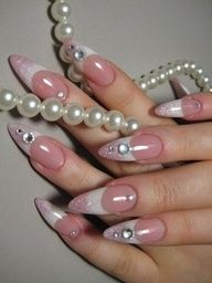 pink-white combo and some sparkle. #nails #nail_art