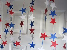 Star Paper Garland, July 4th Decorations, BBQ Decoration, American Decorations, Super Hero Party, Baseball Party, Campaign Decoration
