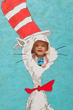 Kyle Valencia Photography. Cat in the Hat / Dr. Seuss Birthday Party Photo Op Cut Out!