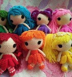 Rainbow flower fairies (amigurumi dolls) - free crochet pattern // Szivárvány virágtündérek - horgolt baba (ingyenes amigurumi minta) // Mindy - craft tutorial collection // #crafts #DIY #craftTutorial #tutorial #amigurumi #crochet #freeCrochetPattern #freeAmigurumiPattern