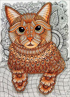 Zentangle stylized Cat illustration. Gel pen, watercolor. Author Viktoriya Crichton
