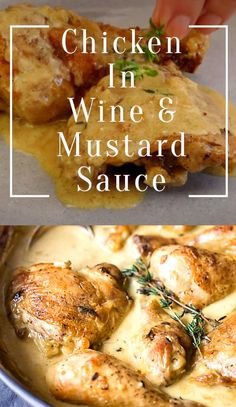 Chicken thighs and legs browned, then braised in white wine and Dijon mustard sauce with a bit of cream. Oven Chicken Recipes, Meat Recipes, Cooking Recipes, Healthy Recipes, Chicken Recipes With Sauce, Easy Sauce For Chicken, Chicken Thigh Fillet Recipes, Chicken Pieces Recipes, French Chicken Recipes