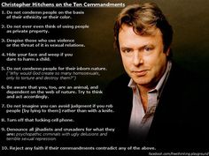 Christopher Hitchens on the Ten Commandments.