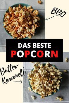 Popcorn ist der perfekte Bulli-Snack. Schnell gemacht und super lecker. Man kann es auf jede erdenkliche Art verfeinern und meistens hat man schon alle Zutaten in der Bulli-Küche parat. Heute wollen wir mit euch unsere zwei Lieblingssorten teilen: salziges BBQ-Popcorn und süßes Butter-Karamell-Popcorn. Beide Sorten machen absolut süchtig! Der perfekte Snack für einen gemütlichen Film Abend oder einen Wander Trip. Ohne Mikrowelle und Ofen.  #Popcorn #BBQ #Butterkaramell #Campingrezept Camping Snacks, Beide, Super, Cereal, Bbq, Film, Breakfast, Microwave, Rezepte