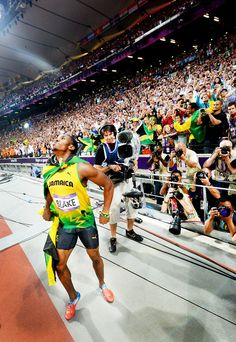 after winning the 200 at the Olympics, Usain Bolt borrowed a camera and madly starting taking pictures. this is one of the best ones he took...