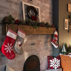 "Fireplace Mantel Custom Chunky Long Rustic 8 by 8 "" Hand Hewn Solid Pine Antique Look – Farmhouse Fireplace Mantels Cabin Christmas, Christmas Stockings, Christmas Fireplace, Farmhouse Fireplace Mantels, Fireplace Redo, Custom Fireplace, Fireplaces, Floating Mantle, Faux Shiplap"