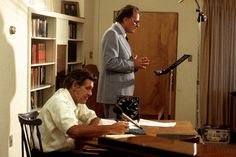 Billy Graham and Cliff Barrows working on an episode of The Hour of Decision
