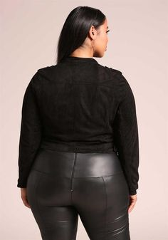 Plus Size Clothing | Plus Size Suedette Cropped Moto Jacket | Debshops