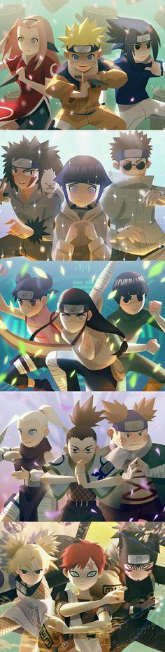 All teams in Genin level Naruto Uzumaki Shippuden, Naruto Shippuden Sasuke, Naruto Kakashi, Anime Naruto, Fan Art Naruto, Naruto Teams, Naruto Sasuke Sakura, Naruto Comic, Wallpaper Naruto Shippuden