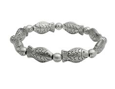 Delicate Chinese National Fish Design Miao Silver Bracelet (Silver)