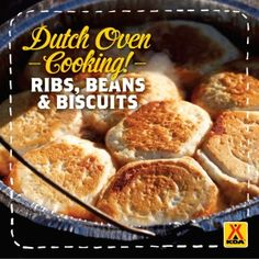 Dutch Oven Barbecue Ribs, Beans and Biscuits