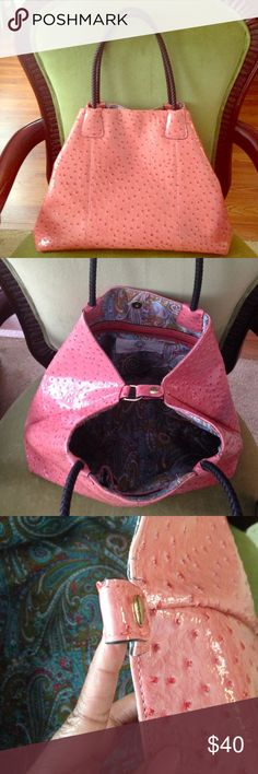 "Big Buddha salmon faux ostrich bag Big Buddha salmon faux ostrich bag, colorful paisley lining, black rope like strap,  large bag 22"" across 12"" down, 7"" wide. Has some small tears as seen in the 3rd picture. Make an offer. Big Buddha Bags Shoulder Bags"
