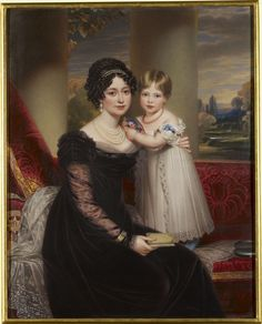 """Victoria, Duchess of Kent (1786-1861) with Princess Victoria, later Queen Victoria (1819-1901)"", Henry Bone, ca. 1824; Royal Collection Trust 404239"