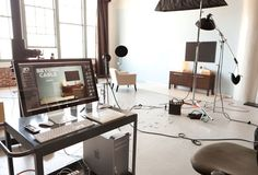 nice photo studio, including a portable work station