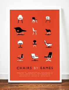 Eames poster art print Mid Century Modern Chair illustration Retro ($19.00) - Svpply