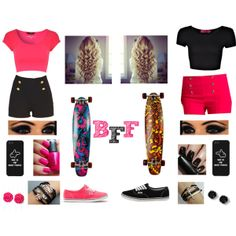Matching Bestfriend Outfit (Left)Pink Crop Top With Black High Waisted Shorts Wirh Pink Vans And Pink And Blue Longboards (Right)Black Crop Top With Pink High Waisted Shorts And Black Vans With A Orange,Yellow,And Brown Longboard