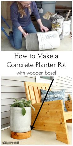 Make a DIY concrete planter pot with this easy tutorial. Add a round wooden base to the concrete planter for added height and interest! One bag concrete project perfect for spring and summer! Diy Concrete Planters, Concrete Crafts, Concrete Projects, Wooden Planters, Diy Planters, Planter Pots, Wrought Iron Decor, Woodworking Inspiration, Diy Outdoor Furniture