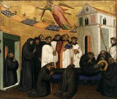 GIOVANNI DEL BIONDO The Funeral of St Benedict c. 1370 Tempera on panel Private collection This is one of five small-format panels with scenes from the life of St Benedict by Giovanni del Biondo.