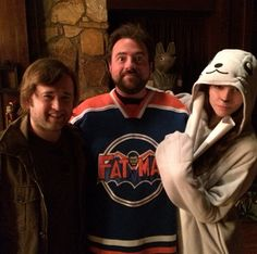 Haley Joel Osment, Kevin Smith, and Genesis Rodriguez on the Charlotte, North Carolina set of 'Tusk' (2014).