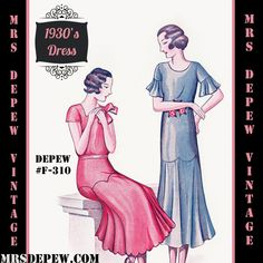 This is a digital draft-at-home pattern for a unique dress from the very late 1920s or early 1930s. The dress can be made in 2 versions and includes a