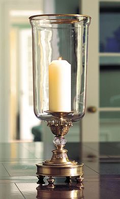 hurricane lamp with crystal accents Glass Hurricane Lamps, Hurricane Candle Holders, Candle Stand, Candle Lamp, Candle Lanterns, Candle Sconces, Inviting Home, Wood Chandelier, Candlesticks